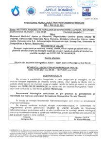 Avertizare hidrologică pentru fenomene imediate nr. 1 din 19.07.2021